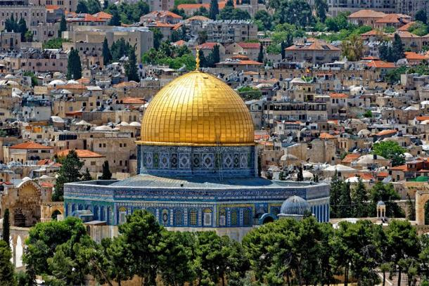 The Dome of the Rock, perhaps the most recognizable Muslim shrine in the world due to its pure golden covering. (Bernhard /Adobe Stock) It currently stands where the ancient Jewish Temples once stood.