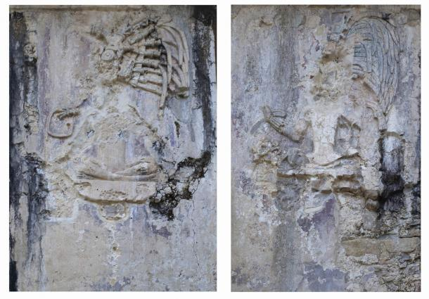 Two, of a series, of eroded Classic period tablets adorning the western piers of the Palace at Palenque, House C, Mexico. As the viewer moves between the panels, an enthroned ruler is animated to lift his right arm. The trick is to see what is different between the different scenes of any given series. (Jenny and Alex John / The Maya Gods of Time)
