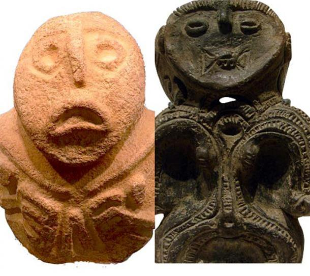 """The Lepenski-Vir """"Progenetrix"""" figure to the left (CC BY SA 4.0) and its dogu counterpart to the right. (Public Domain)"""