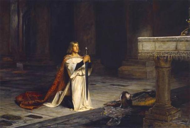 Gawain represented the perfect knight, as a fighter, a lover, and a religious devotee. The Vigil, 1884. (John Pettie / Public domain)
