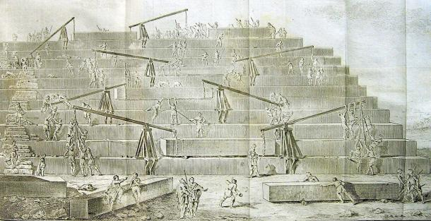 """""""Construction of the Great Pyramid According to Herodotus"""", lithograph depicting multiple so-called 'Herodotus Machines' operating on the Great Pyramid (Antoine- Yves Goguet (1820) / Public domain)."""