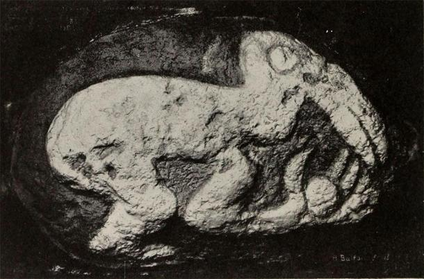 Stone carving of the Birdman with egg in hand taken from Orongo in 1914 and now in the British Museum. (Public domain)