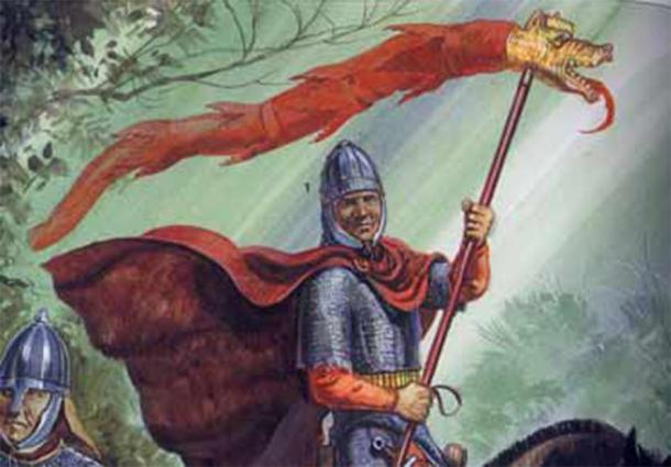 A Sarmatian in Roman service carrying the dragon standard (Illustration by Gerry Embleton)