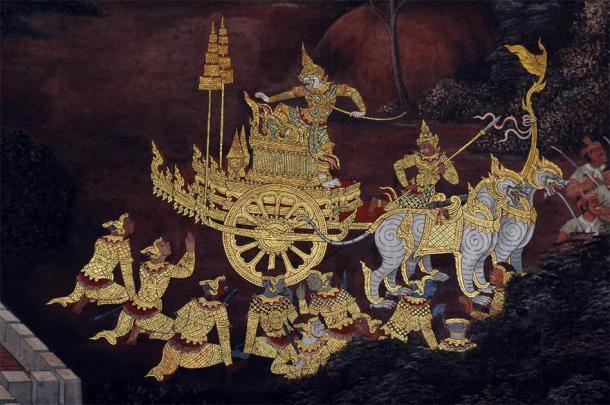 Hanuman on his chariot, a scene from the Ramakien in Wat Phra Kaew, Bangkok. (Public Domain)