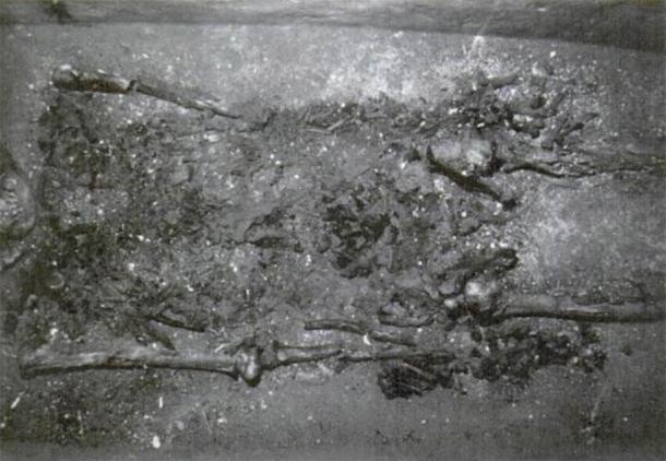 This photograph of Pakal's remains, purportedly taken in 1999, the skeleton is once again angled in such a way that the skull is completely obscured. The image was published in Tiesler and Cucina. (Author provided)