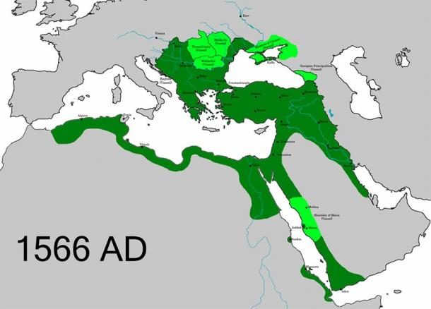 The Ottoman Empire at the time of the death of Suleiman the Magnificent. (Renato de carvalho Ferreira / CC BY-SA 4.0)