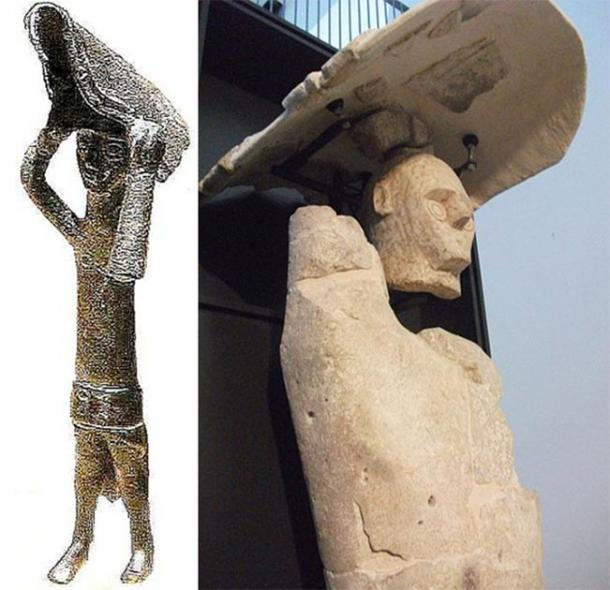 Left: Nuragic bronze boxer warrior. (Shardan/CC BY SA 3.0) Right: Giant of Mont'e Prama boxer warrior. (DedaloNur/CC BY SA 3.0)