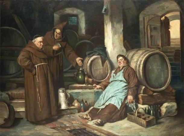 Depiction of medieval monks in a beer cellar. (Joseph Haier / Public domain)