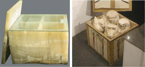 Left: The quadratic form of the shrine for the canopic jars might indicate that each son of Horus resided over a quadrant of directions. Canopic chest of Hetepheres, wife of Seneferu (Khufu's father), Giza, 4th dynasty. Egyptian Museum, Cairo. (Aidan Dodson / University of Bristol)