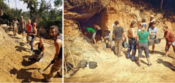 Groups of international volunteers during the summer 2018 excavation season working at the site now named 'Ravne3'. (Richard Hoyle / The Bosnian Pyramid of the Sun Foundation)