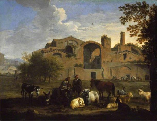 Landscape painting by Pieter van Bloemen showing the Baths of Diocletian in Rome. (Public domain)