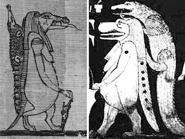 Left, Sobek as crocodile and Taweret as hippopotamus from the Book of the Faiyum and, right, the crocodile and hippo sky figure as seen in the tomb of Seti I, the latter representing the stars of Draco, Ursa Minor and perhaps Ursa Major. Credit: Andrew Collins.