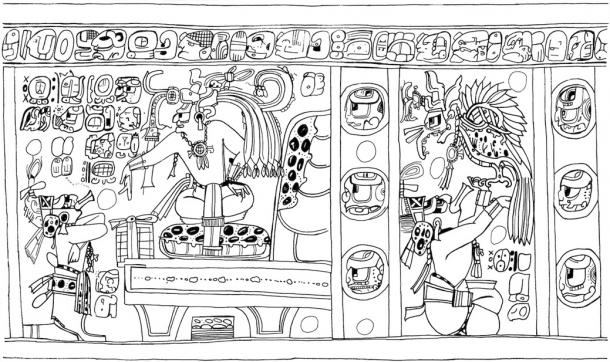 Classic period Maya vase that, on rotation in the viewer's hands, visualises the transformation of the deity Itzamnaaj into the principal bird deity. Itzamnaaj's human and bird persona display identical eyes with square pupils and wear the same necklace and headgear. The headdress feathers, on rotation, have turned into those of the bird's wings and tail. Three stacked Time Head Stones in the two columns separating the two scenes draw attention to the Maya notion of three-part time driving the deity's transformation. This animation was extracted and adapted from Kerr (2000:1010), file no 7821. (Jenny and Alex John / The Maya Gods of Time)