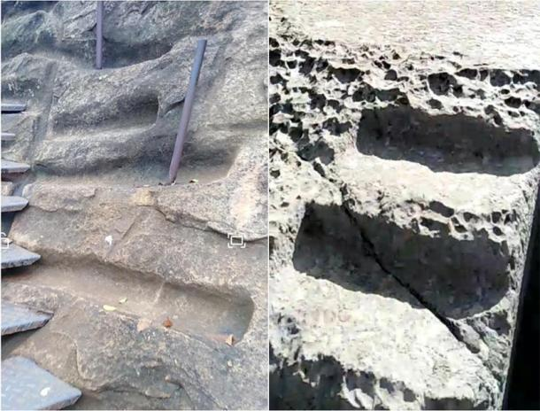 """The picture to the right was taken mid-2019 at a site just outside of Cusco, named """"Qenqo Chico"""". This type of smooth stone """"groove"""" is found all over South American ruins - it is unexplained by modern academia. The picture to the left was taken in early 2019, during my time spent on the summit of Sigiriya, Sri Lanka. Notice the similarity in cut marks, with the rock face almost appearing to have been extracted by 'scraping' in precise, lateral strokes - something extremely hard to replicate with metal tools. (Photos courtesy of the author)"""