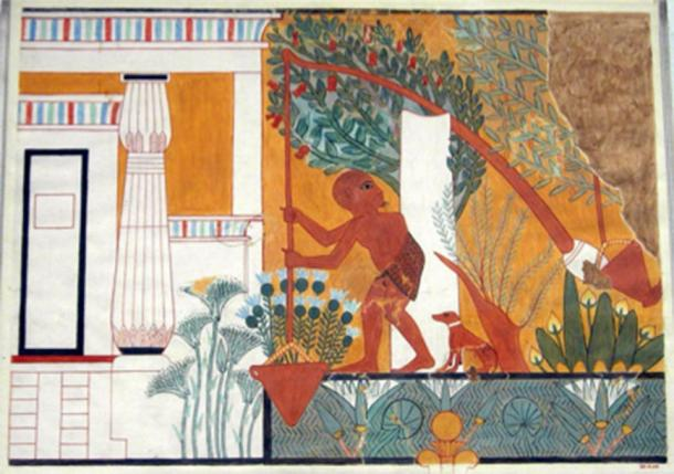 """Tomb painting showing an ancient Egyptian gardener using a shaduf (Tomb of the Royal Sculptor Ipuy, Deir el-Medina, 19th Dynasty, 1279-1213 BCE). The shaduf relies on the same principles of counter-weight leverage as the so called """"Herodotus Machines"""" imagined by Goguet and other artists. (Metropolitan Museum of Art / CC0)"""