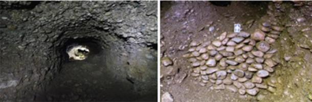 Left; A passage connecting two chambers within the Ravne3 Tunnels. Right; One of two drywalls found within the Ravne3 Tunnels. (Richard Hoyle / The Bosnian Pyramid of the Sun Foundation)