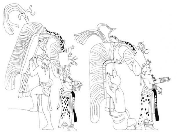 Details of a Bonampak mural section animating a lord to dress in two steps. The lord's minimal movement, merely attending to the tying of his own wrist bands, accentuates the busy animation of his attendants, twirling around his person, dancing to tend all his robing needs. This comes from the Late Classic Bonampak mural, Structure 1, Room 1, north wall details. Animation extracted and adapted from fig. 133 in Miller and Brittenham (2013:78). (Jenny and Alex John / The Maya Gods of Time)