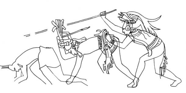 Details of a Bonampak murals section which, on passing, animate a warrior to fall to the ground within a battle scene. The figure's increasing state of undress emphasises defeat and progressive descent. Late Classic Bonampak Structure 1, Room 2, north wall, southwest corner. (Jenny and Alex John / The Maya Gods of Time)