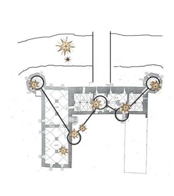 Basement plan with the towers connected to show the close correspondence with Tycho's mirrored wood-cut. The slightly slanting angles of the towers gives hints to Cassiopeia's W. Author provided (architectural drawing by Kjaer and Richter).