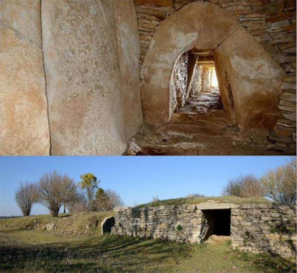 Inside (Sylvain Crouzillat/CC BY SA 4.0) and outside (Regissierra/CC BY SA 3.0) the Montioux tumulus.
