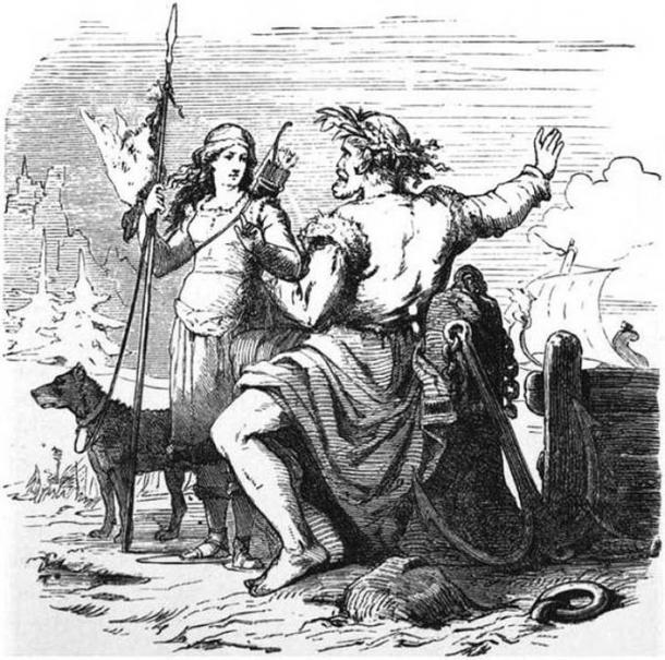 Njörðr and Skaði on the way to Njörðr's home Nóatún