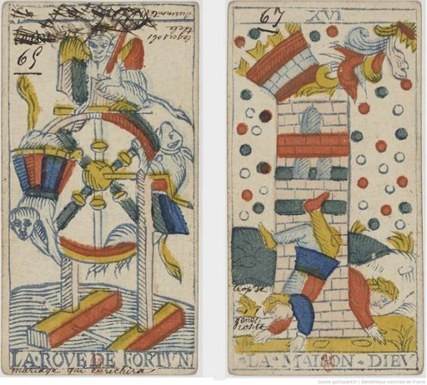 Two images from a Tarot de Marseilles deck allegedly annotated by the fortune teller Mademoiselle Lenormand. Bibliothèque Nationale de France
