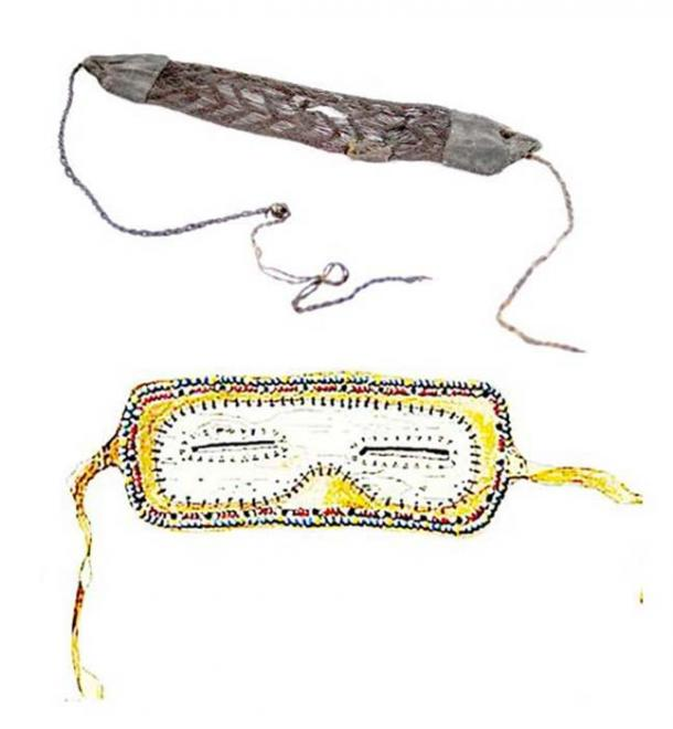 Snow goggles found in burials around Siberia; some of them were made of horse hair, the others of birch bark. Pictures: YakutCostume, The Siberian Times