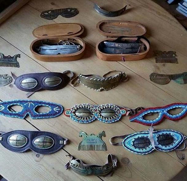 Siberian snow goggles of all shapes, materials, and colors. Images: YakutCostume, The Siberian Times