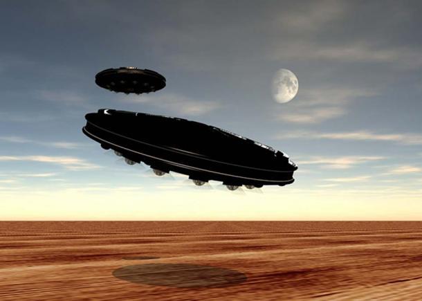 Artist's impression of UFOs over a desert.