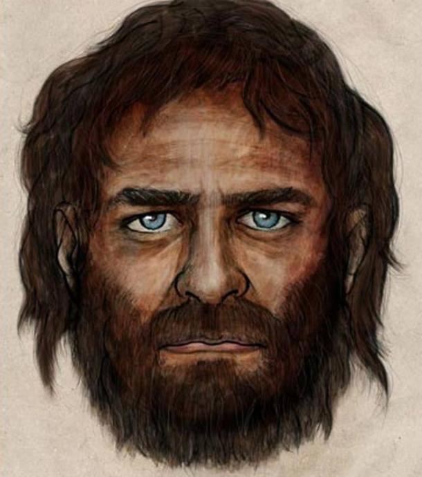 Artist's impression of a blue-eyed hunter gatherer