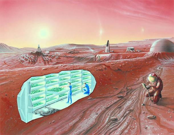 Vue d'artiste d'une colonie martienne avec vue en coupe.  (Domaine public)
