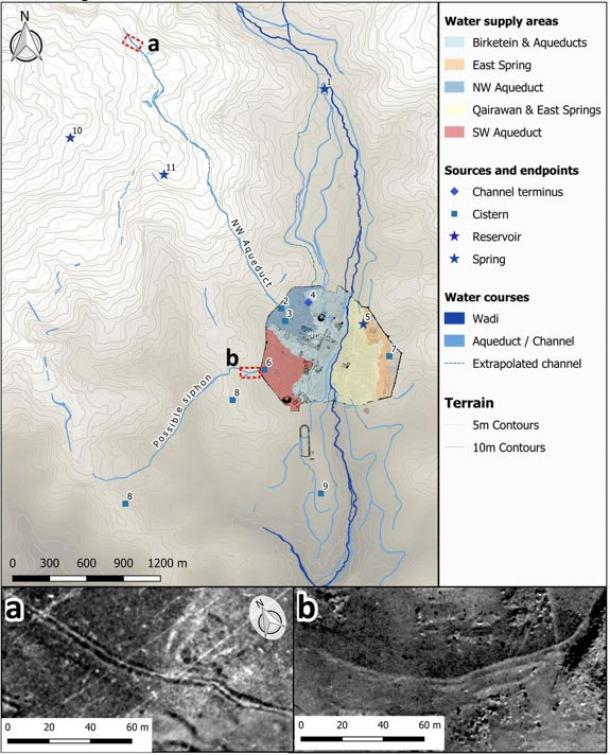 Water sources and infrastructure at Jerash mapped from the remotely sensed 100-y data record, showing supply channels, probable supply areas calculated from the 1953 DTM.