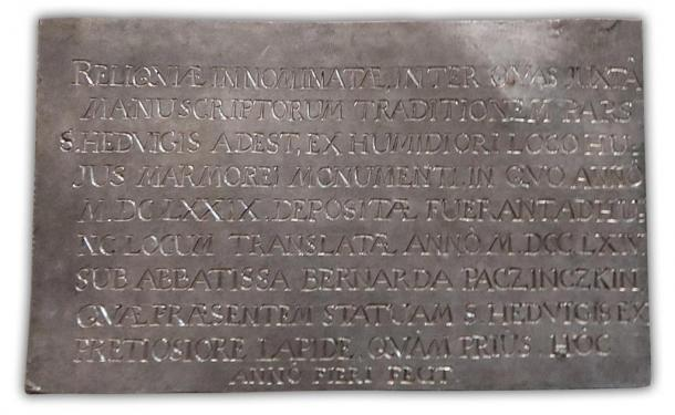 The inscription panel that was laid on top of the casket bore the date 1764, suggesting St. Jadwiga's bones hadn't been seen since that time. (trzebnica.pl / Fair Use)
