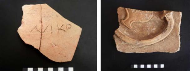 Left: Greek inscription on a jug. Right: fragment of a terracotta decorative panel. (Institute of Archaeology RAS)