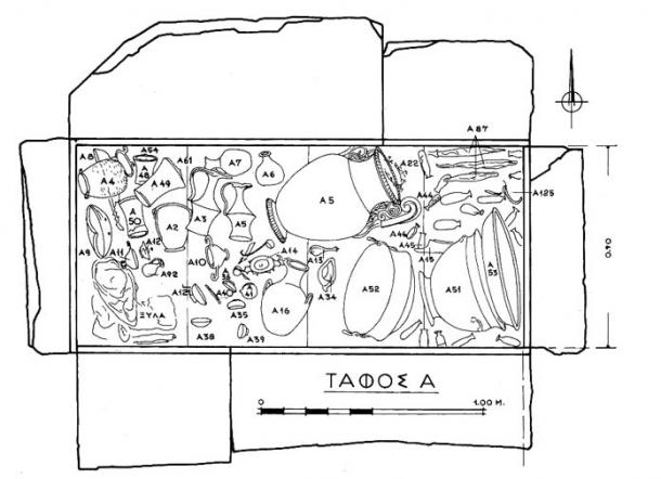 Drawing of the interior of Derveni Tomb A, where the Derveni Papyrus was recovered in 1962.