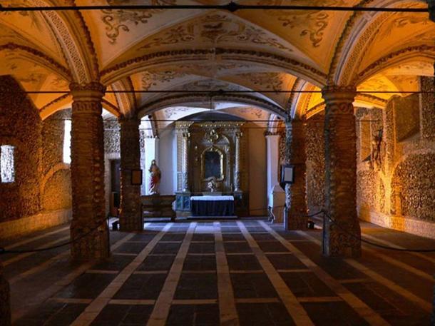 The interior of the Capela dos Ossos, Évora, Portugal