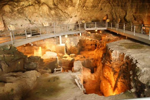 The interior of the Theopetra Cave.