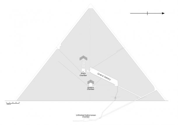 Diagram of the interior structures of the Great Pyramid.