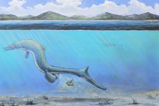 An artist's interpretation of a baby mosasaur emerging from an egg. (John Maisano / Jackson School of Geosciences - University of Texas)