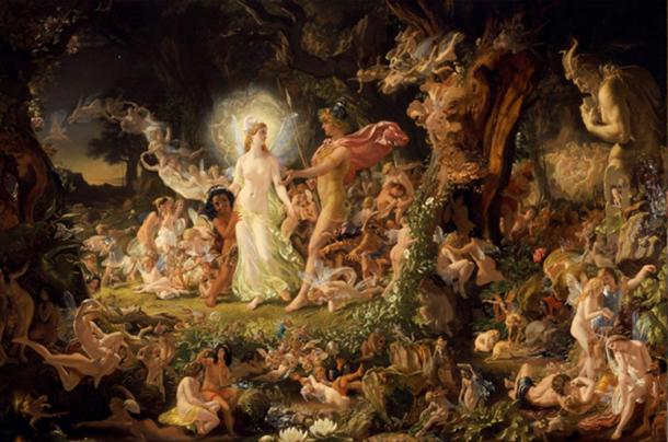 """""""Throughout the ages different interpretations of the Underworld remain a popular construct of cultural mythology, but its essential character as a unseen realm populated by mysterious beings remains intact."""" Joseph Noel Paton's 1849 painting of Oberon and Titania, fairies from Shakespeare's Midsummer Night's Dream."""