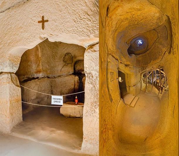 Interior del llamado Templo de los Deseos, el Templo de Sinca Veche continúa desconcertando a la comunidad arqueológica rumana. (Izquierda: davidionut / Adobe Stock. Derecha: Misiulica / CC BY-SA 3.0)