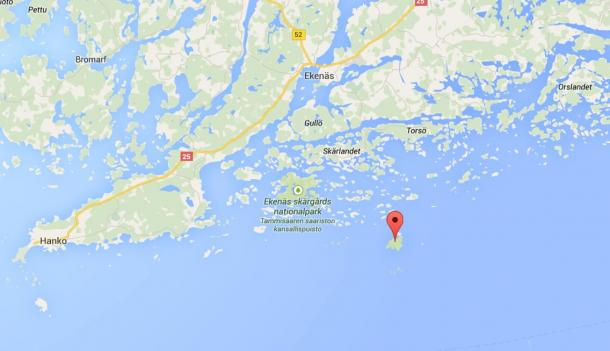 The wreck was found just south of the island of Jussarö (pinned) in Finland.