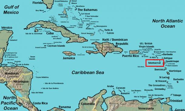 The island of Montserrat in the Lesser Antilles islands