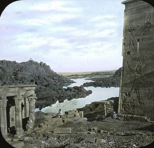 A scene on the island of Philae, Egypt, before 1923.