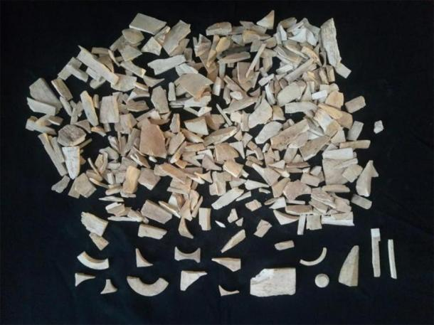 Some of the 40 kilograms ivory waste found at the Bhanbhore site. (Muhammad Qaseem Saeed/ Sindh Cultural Dept)