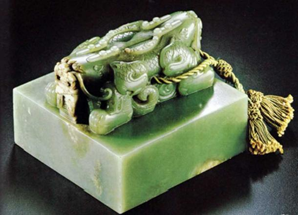 A jade imperial seal from the Qing dynasty.