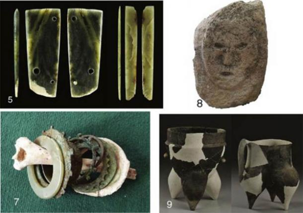 5: jade items found at East Gate; 7: jade and metal bracelets with a human arm bone found in a burial; 8: stone human head; 9: Shimao ceramics. (Zhouyong Sun et al. 2017)