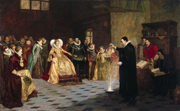 John Dee performing an experiment before Queen Elizabeth I. Oil painting by Henry Gillard Glindoni.