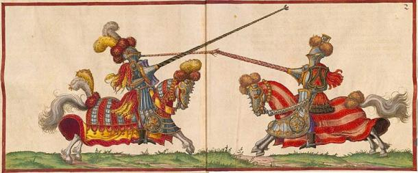 """High"" jousting in Paulus Hector Mair's compendium. Mair shows various styles of joust practiced during the 16th century. (Public Domain)"