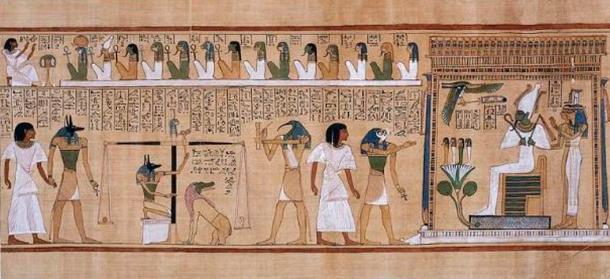 The judgement of the dead in the presence of Osiris